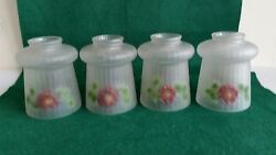 4 matching antique 2 1 4quot; fitter glass shades painted embossed flowers 0004S $149.00