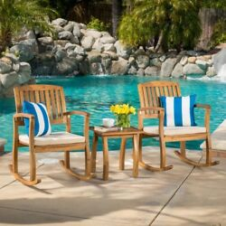 3 PC Outdoor Patio Set Garden Furniture Wood Rocking Chair Cushion Coffee Table