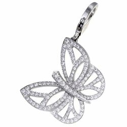 Van Cleef & Arpels 18K White Gold Full Diamond Pave Butterfly PendantCharm