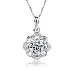 Womens Elegant 925 Sterling Silver Zircon Hibiscus Flower Pendant Necklace