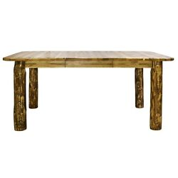 Rustic Log EXTENDING Dining Room Table 7 ft Solid Pine Tables Amish Made Cabin