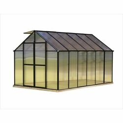 Greenhouses Aluminum Frame 8 x 12 Ft. Twin Wall Polycarbonate A-Frame Roof Black