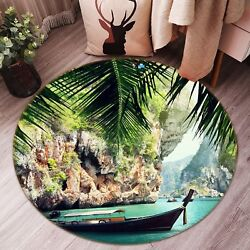 3D Canyon Scenery Boat 5 Non Slip Rug Mat Room Mat Round Elegant Photo Carpet AU