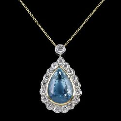 AQUAMARINE DIAMOND PENDANT NECKLACE 10CT AQUA 2CT DIAMONDS