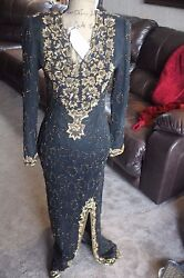NIKS TOUC DRESS EVENING COCKTAIL WOMEN SZ MED VINTAGE PARTY BLACK GOLD RHINESTON $64.50