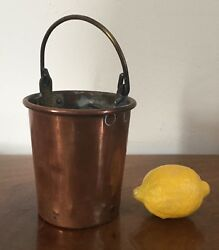 Antique 19th c. Copper Pail Bucket Hand Made Vase Ice Desk Pencil Cup Brass Bar $285.00