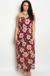 Women Strapless Wine Floral Plus Lined Casual Dress Summer Relaxed Fit Boho Cute $17.67