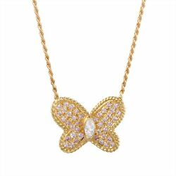 Graff 18K Yellow Gold Pink and White Diamond Butterfly Pendant Necklace