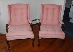 Pair of Matching Queen Anne Style Wing Back Chairs - Pink
