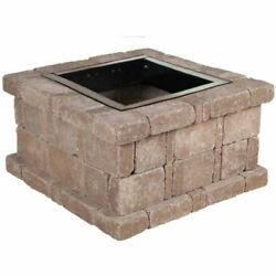 Fire Pit RumbleStone 38.5 x 21 Inch. Cafe Square Concrete Outdoor Fire Bowl Kit