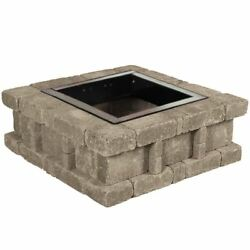 Fire Pit RumbleStone 38.5  x 14 Inch. Square Concrete Fire Bowl Kit Greystone