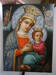 Our Lady of the Perpetual help oil painting on canvas by Jose A Robles SOLD