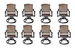Cast Aluminum Wicker Swivel Chairs Dining Outdoor Patio Furniture Set of 8