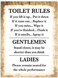 Toilet Rules Bathroom Decor STICKER Decal Sign Rustic Country Wood FUNNY HUMOR $7.99