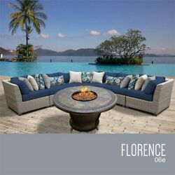 TKC Florence 6 Piece Patio Wicker Fire Pit Sectional Set in Navy