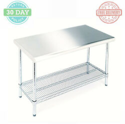 Kitchen Utility Work Table Stainless Steel Adjustable Chrome-plated Lower Shelf