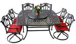 8 piece patio dining set outdoor cast aluminum furniture Palm tree chairs table
