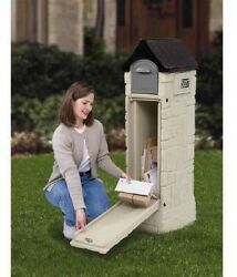 Faux Stone Plastic Mailbox Locked Compartment Rear Access Door Weather Resistant