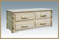 Log Chest with Drawers 4 Drawer Blanket Chest Amish Made Rustic Furniture