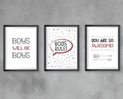 Boys Bedroom Wall Art A4 Prints Boys Rule Quotes Grey Red Black Modern Bedroom GBP 8.99