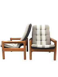 Mid Century High Back Danish Lounge Chairs by Domino Mobler - A Pair