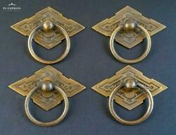 4 Eastlake Antique Style Brass Ornate Ring Pulls Handles 2-38
