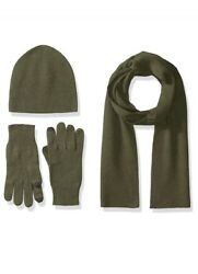 New 100% Cashmere Knit Scarf Glove Hat Beanie Skull Cap Set Olive Green