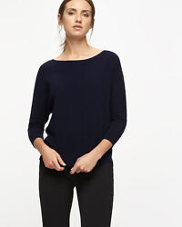 Jigsaw Button Back Dropped Hem Jumper Navy Size UK 10 rrp £89 DH081 PP 13