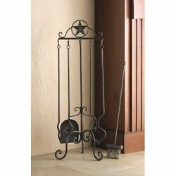 WOW Fireplace Tool Set Lone Star Theme Rustic Design Iron with Stylish Frame