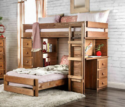 Eileen Rustic Student Twin Loft Bunk Bed Storage Drawers Desk in Mahogany