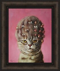 MARIE CATOINETTE by Lucia Heffernan 16x19 Spoof Funny Cat Hair Updo FRAMED ART $35.95