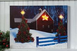 New Rustic Country Americana CHRISTMAS TREE BARN STAR Lights Lighted Picture $16.99