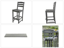 Bar Side Armless Chair Outdoor Patio hdpe Polywood Lumber Slate Grey Plastic
