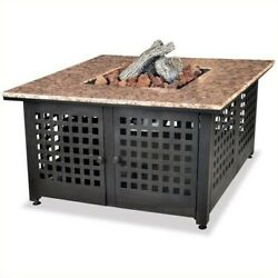Pemberly Row LP Gas Outdoor Firebowl with Granite Mantel