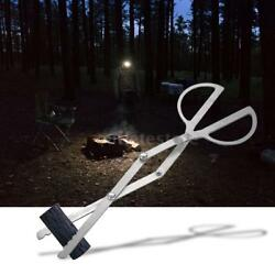 Outdoor Portable Campfire Tongs Grabber Fireplace Log Fire Pit Grill Tool P4C4
