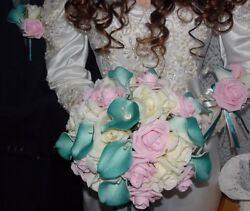 20PC Wedding Bridal Bouquet Set Teal Calla Lily Pink Ivory Rose FREE GIFT BRIDE