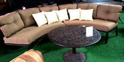 Patio cast aluminum half moon sofa deep seating outdoor furniture 3pc with table