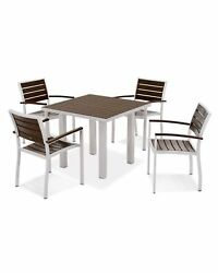 POLYWOOD Euro Outdoor 5-Piece Dining Table Set All-Weather Patio Furniture