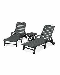 POLYWOOD Nautical Outdoor Chaise Lounge Chair Set All-Weather Patio Furniture