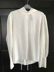 BNWT $1.1k Chloé 44 Silk Turtle Neck Top Iconic Milk Feminine Classic Chic