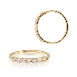 Sterling Silver 925 Gold Plated 7 CZ Accent Hoop Helix Tragus Nose Ring 20G $9.00
