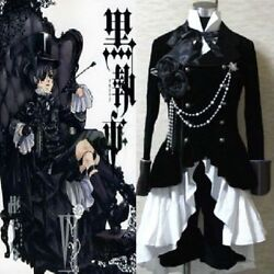 Black Butler Ciel Phantomhive Black Suit Cosplay Outfit Costume