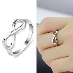 Fashion Women Silver Plated Infinity Ring Endless Love Symbol Ring Size 5-10