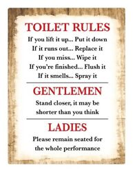 Toilet Rules Bathroom Decor STICKER Decal Sign Rustic Country Wood MUST SEE $7.99