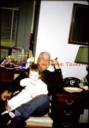 1957 COLOR Young girl and old guy with cigar Telephone SLIDE i9 $3.01