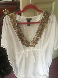 Women's bathing suit cover up dress white With Loose Fitting Sleeves $65.00