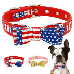 Cute Bow Tie Dog Collar Leather Small Medium Pet Collars for Terrier Beagle Pug $6.99