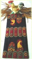 Penny Rooster felted wool applique penny rug quilt pattern by Cath's Pennies
