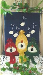 Snowman Choir felted wool applique penny rug quilt pattern by Cath's Pennies