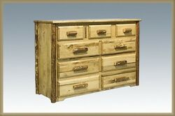 9 Drawer LOG Dresser with DOVETAIL Drawers Amish Made Rustic Furniture